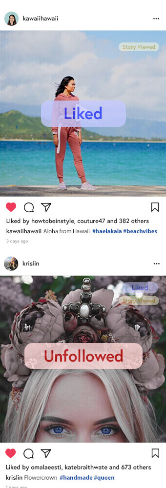 A list of actions performed by InstaCaptain to grow Instagram accounts