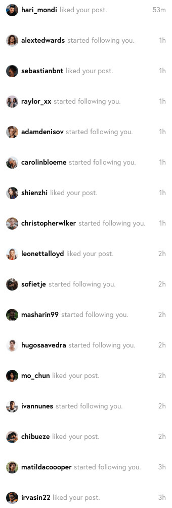 a screenshot of a user getting more Instagram followers and likes